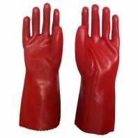 "Pvc acid resistant gloves, red, 16"""