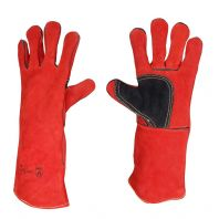 H.D Welders Gloves Red W/Black Patch